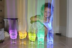 Kids would love this glow craft! Put the glow sticks in cups of water and an aura comes off in the dark when you tap them. HOURS of fun!