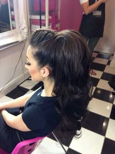 French plait with high ponytail