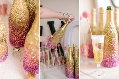 Ombre glitter champagne bottles, glittered champagne flutes, and sparkly drink stirrers.  Throwing the Ultimate Girls Valentine's Day Party | Camp Makery