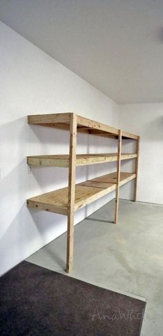 Beautiful Wood Basement Shelves