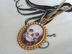 Skull Illusion Necklace Pierrot and Columbine Double Image Optical Illusion Metamorphic Skull Necklace Inv0172 by PeculiarCollective on Etsy
