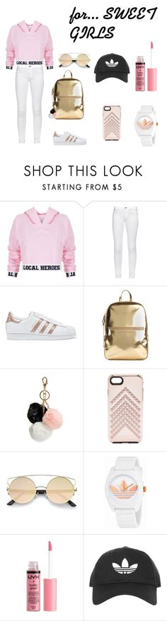 """#powder.pink#gold/5"" by juliefashionz on Polyvore featuring moda, Local Heroes, rag & bone, adidas Originals, DKNY, GUESS, Rebecca Minkoff, adidas, Charlotte Russe i Topshop"