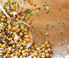 Chickpeas With Feta & Mint Recipe // by Claire Tansey // Photography Michael Graydon Mint Recipes, Home Recipes, Clean Recipes, Healthy Recipes, Vegan Dishes, Side Dish Recipes, Food For Thought, Love Food, Vinaigrette