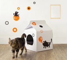 The Milk Box is a home for cats and small dogs.  You can even decorate to match your cat's personality!