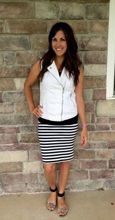 Black & White Striped Skirt with White Moto Vest: CUTE!