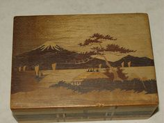 1930 Vintage Japanese Wood Puzzle Box Mt Fuji