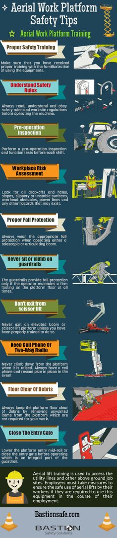 This #infographic covers the #Aerial work platform #safety #tips, help you to #safe when operate any aerial machine. If you need Aerial work platform training? Call Bastion Safety Solutions to take the aerial work platform training. Email Info@bastionsafe.com or call 1 (888) 366-8005