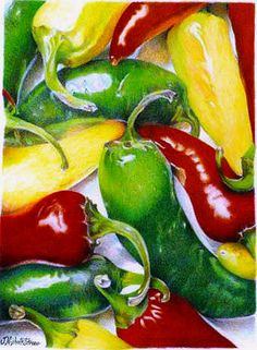 Red/Yellow/Blue/White pencils only! - Hot Peppers - WetCanvas