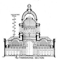 Pantheon (Paris): section Illustration Paris, Illustrations, Section Drawing, Line Drawing, Pantheon Paris, Architectural Prints, Perspective Drawing, Distinguish Between, Current Location