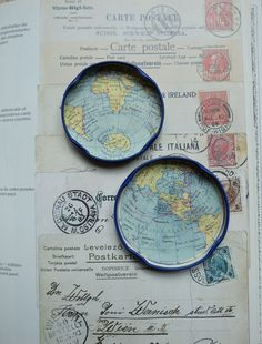 Fridge magnet set vintage maps atlas globe world by LottiesSewKnit