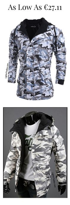 Casual sporty military print men winter under coat in blue and green khaki, grey colours at just €27.11. Click on the picture to see yourself.