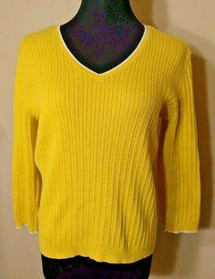 Ralph Lauren L Sweater Yellow Green Label Cable Knit White #LaurenRalphLauren #VNeck