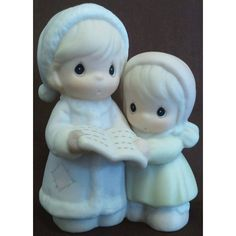 Enesco's Precious Moments Sugar Town Village - Aunt Ruth and Aunt Dorothy Caroling Figurine - Signed 1994 Trumpet 529486 NIB || Available for sale via the pin's link. To see our complete collection of Precious Moments available, check out our store under the Collectibles > Enesco > Precious Moments category at http://purpleiris.ecrater.com/c/1760136/precious-moments