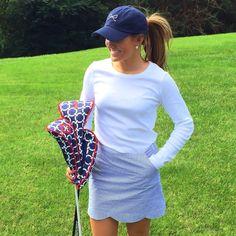 Golf Hat - Ame Lulu golf headcovers in Cru. Paired with the Navy Seersucker  Skort! e5c14998b9f1