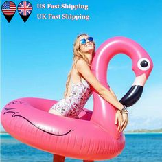 """Clearance NOW!!! Giant Inflatable Pink Flamingo Pool Float 47"""" Swimming Raft. Find at wulibike.com"""