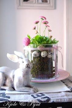 Moss, then quail eggs, then a live plant in a large jar. Hoppy Easter, Easter Bunny, Easter Eggs, Easter Parade, Spring Party, Spring Sign, Spring Flowers, Flower Arrangements, Holiday Decor