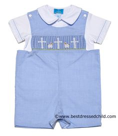 29a7905e7 Clair & Charlie Baby / Toddler Boys Light Blue Mini Gingham Shortall with  Shirt - Smocked Easter Cross / Lambs