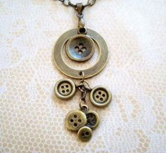 Antique Brass Button Charms Pendant Necklace by JTSJewelryDesigns for $12.95 #buttons #jewelry #zibbet
