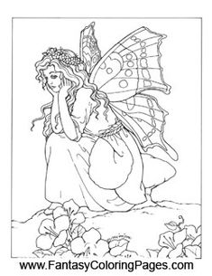 sad fairy coloring pages - photo#3