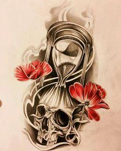 Clock Tattoo Design, Skull Tattoo Design, Tattoo Designs, Owl Tattoo Drawings, Tattoo Sketches, Time Tattoos, Sleeve Tattoos, Arm Cover Up Tattoos, Skull Rose Tattoos