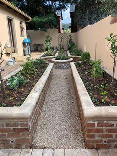 Raised Veggy Garden by Garden Bleu - Modern Building A Raised Garden, Raised Garden Beds, Vegetable Garden Design, Vegetable Gardening, Organic Gardening, Vintage Gardening, Brick Garden, Growing Vegetables, Backyard Landscaping