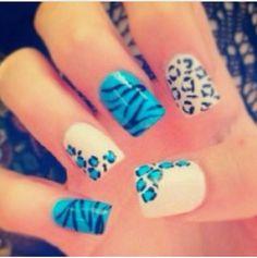 Leopard - Zebra Blue nails