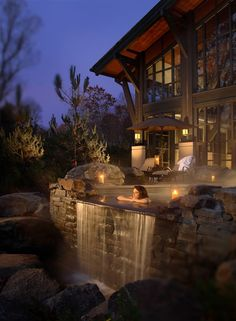 Want outdoor hot tub but this is over the top for us.  But would be ski side of house.