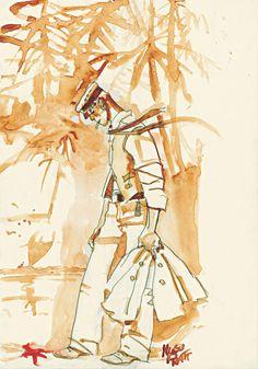 Corto Maltese drawn by Hugo Pratt Comic Book Artists, Comic Artist, Comic Books Art, Paolo Conte, Hugo Pratt, Illustrations, Illustration Art, Bd Art, Bd Comics