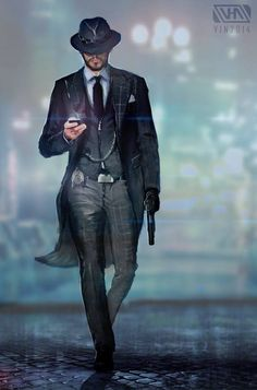 Sweet Home Chicago 2044 by TheEnderling Neo-Noir Cyberpunk Increasing the hairs stronger Cthulhu, Mafia, Character Concept, Character Art, Concept Art, Hipster Noir, Chasseur De Primes, Sci Fi Characters, Fictional Characters