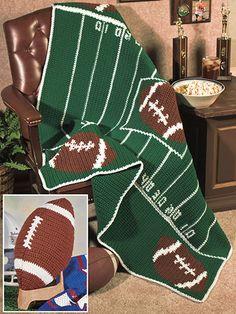 "Football Mania - Football Afghan Crochet Pattern ~ also football pillow ~ BEGINNER to intermediate levels ~ afghan is 49"" x 52"" - pillow is 13"" long (pillow) ~ CROCHET"