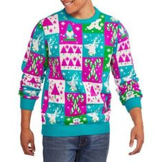 Multicolor Men's Ugly Christmas Sweater, Size: Large, White