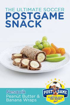 For the ultimate post-game soccer snack, try these Peanut Butter & Banana Wraps using Nesquik. 1. Spread peanut butter and Nesquikevenly over each tortilla. 2. Drizzle honey over each tortilla. Top with banana slices and chocolate chips. 3. Enjoy!
