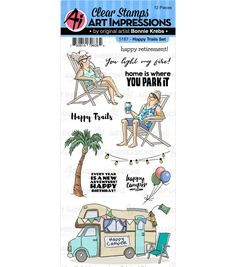 Art Impressions Work & Play Clear Stamps Happy Trails Happy Retirement, Flip Cards, Art Impressions, Happy Trails, Order Up, Joanns Fabric And Crafts, Happy Campers, Clear Stamps, Craft Stores