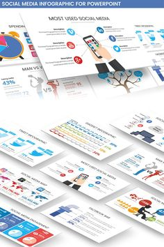 **Social Media Infographic**a Powerpoint template that Contain an infographic about social media, internet marketing, etc., all the chart is editable just use Business Presentation, Presentation Design, Presentation Templates, Power Points, Software, Social Media Engagement, Internet Marketing, Chart, Ads