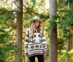 70's Cowichan Sweater, Oversized Chunky Sweater, Orca Whale + Thunderbird Native Wool Sweater, Brown Cream Hand knit Pullover Sweater, LARGE