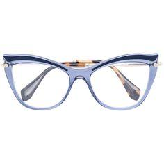 Miu Miu Eyewear cat-eye glasses ($367) ❤ liked on Polyvore featuring accessories, eyewear, eyeglasses, blue, miu miu eyewear, miu miu eyeglasses, cat-eye glasses, cat eye glasses and cat eyewear