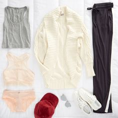 Track pant trend alert! Our stylist added our fave new style for your next off-duty look. No sweat! Shop Erin's Outfit:Zip Side Track Pant | Crop Boy Tank | Geo Lace Hi-Neck Bralette | Cozy Cocoon Cardi |AEO Corduroy Baseball Hat | Tretorn