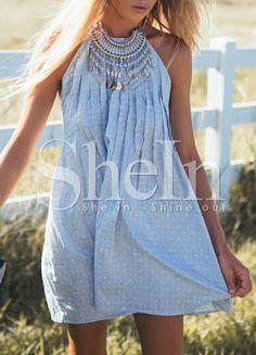 Blau Sleeveless Backless Kleid 14.71