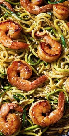 Stir Fry Teriyaki Shrimp with Zucchini Noodle — Stir fry teriyaki shrimp and zucchini noodles – A delicious, low-carb, healthy weeknight dinner made with spiralized zucchini and shrimp with teriyaki sauce and toasted sesame seeds. This stir fry … Stir Fry Zucchini Noodles, Zucchini Noodle Recipes, Stir Fry Noodles, Zoodle Recipes, Spiralizer Recipes, Fish Recipes, Seafood Recipes, Asian Recipes, Healthy Recipes
