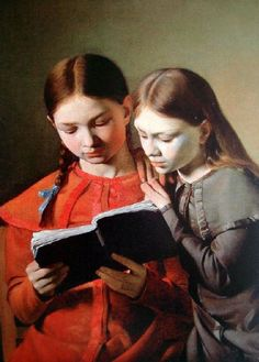 The Artist's Sisters Signe and Henriette Reading a Book Constantin Hansen Oil on canvas. Hansen often used his sisters and friends as models; People Reading, Girl Reading Book, Reading Art, Woman Reading, Kids Reading, Reading Books, I Love Books, My Books, Books To Read For Women