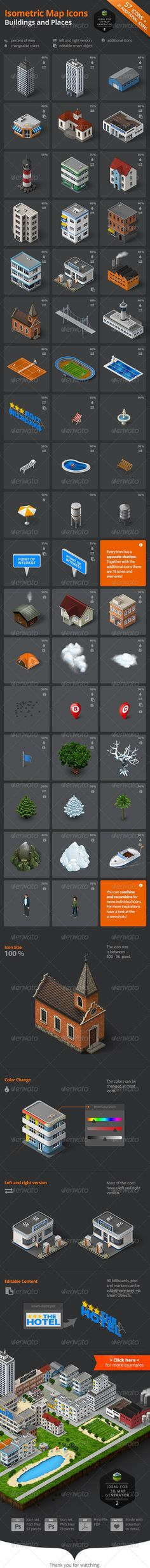 Isometric Map Icons - Buildings and Places