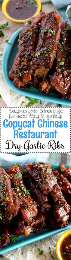 Copycat Chinese Restaurant Dry Garlic Ribs - Lord Byron's Kitchen - Copycat Chinese Restaurant Dry Garlic Ribs are a nostalgic buffet favourite.  Every 80s and 90s Chinese buffet included these delicious ribs and this is a make-at-home recipe that's better than the original! - #copycat #recipe