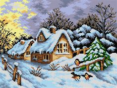 Crewel Embroidery, Cross Stitch Embroidery, Cross Stitch Designs, Cross Stitch Patterns, Cross Stitch House, Cross Stitch Animals, Hand Art, Christmas Cross, Plastic Canvas Patterns