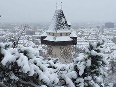 Graz-Austria Vienna Woods, Graz Austria, Iron Age, Salzburg, Places Around The World, Clocks, Wanderlust, Pictures, Snow