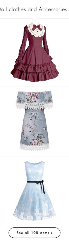 """""""Doll clothes and Accessories 6"""" by phoenixstarr15 ❤ liked on Polyvore featuring dresses, vestidos, day dresses, blue, floral dresses, blue sleeveless dress, off-shoulder dresses, blue dress, off-the-shoulder dresses and plus size dresses"""