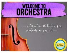 An awesome slideshow for beginning orchestra students and parents. This is a must-have for open house night! Teaching Orchestra, Teaching Music, Instruments Of The Orchestra, Musical Instruments, Open House Night, Classroom Pictures, Classroom Ideas, Singing Exercises, Yellow Brick Road