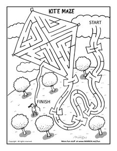 Kite Maze and Coloring Page