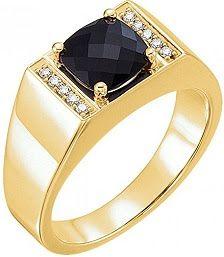14kt Yellow Gold Men's Onyx & 1/10 CTW Diamond Ring
