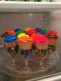 Cupcakes and M&Ms in champagne glasses for New Years