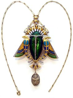 Egyptian style pendant necklace , created by Auger in Paris Maison approx. 1900